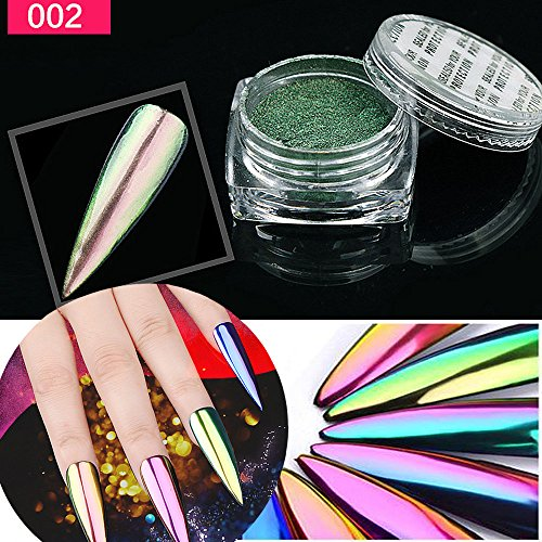 (HCFKJ NEW Metal Chrome Nail Polish PowderPigment Changing Colours Holographic Effect B)