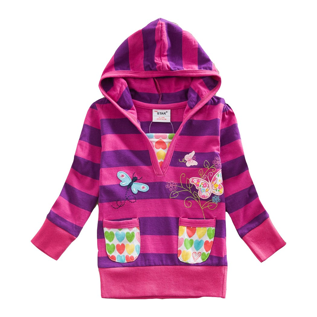 2015 NEAT Kid Girl Cotton Butterfly Lace Long Sleeve T Shirt Clothes 2-6 Years L6551002PUR) L6551002PURPLEM4T