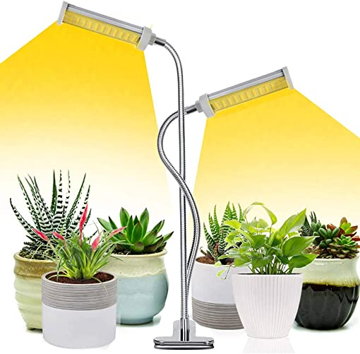 Grow Light Abonnylv 15000Lux 50W Sunlight Full Spectrum Plant Light for Seedlings with Desk Clip On , Dual Head 360 Degree Gooseneck 2 Switch Modes 5 Brightness for Indoor Gardening Houseplants