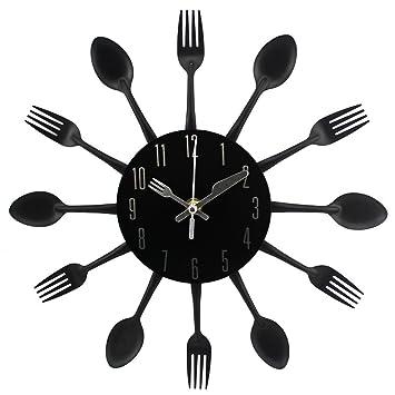 Morza 3D extraíble Moderna Cocina Cubiertos Cuchara Tenedor Reloj de Pared Tatuajes de Pared Espejo: Amazon.es: Hogar