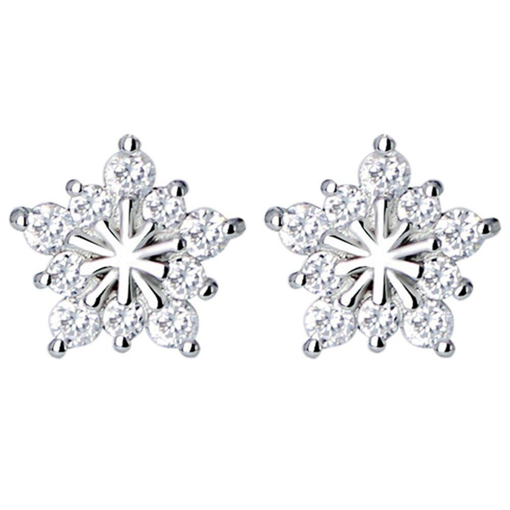 Cdet 1 Pair Snowflake Earring Diamond Stud Earrings Sterling Silvery Earrings for Women Girls Gifts Jewelry Accessories
