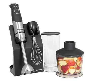 Concept Electrodomésticos TM4735 - Batidora de mano con chopper, varilla batidora, vaso mezclador y pie mezclador, 800 W, color negro y gris: Amazon.es: ...