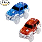 Magic Tracks Car Toy with LED Light Racing Car for Kids with Battery (2 Cars)