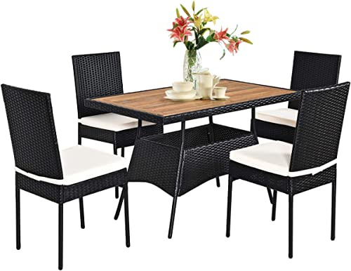 Tangkula 5 PCS Wicker Patio Dining Set