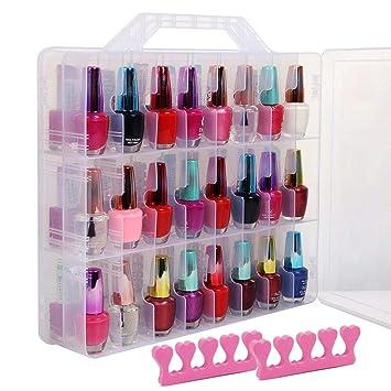 Caja portátil y transparente de almacenamiento y presentación de esmalte de uñas de doble caras Capacidad máxima de 48 botellas, Espacio ajustable ...