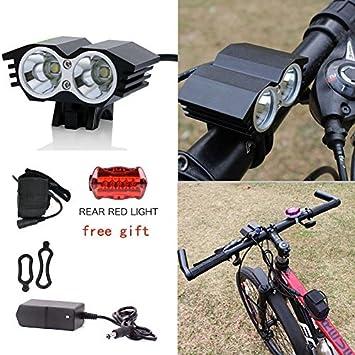 Luz delantera – Foco frontal de bicicleta 5000 lúmenes Linterna LÁMPARA TORCH frontal 2 x CREE XM-L U2 LED de bicicleta/bici lámpara Luz LED frontal para manillar de bicicletas (2 focos, 5000