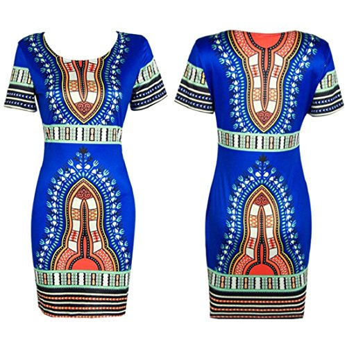 Orangesky Women Traditional African Print Dashiki Bodycon Short Sleeve Dress (S, Blue)