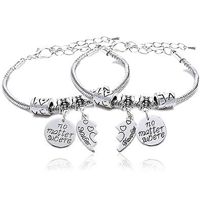 2pcs Mother Daughter No Matter Where Compass Split Broken Heart Double Bracelets Set Family Gift for Women ODSf8LAK
