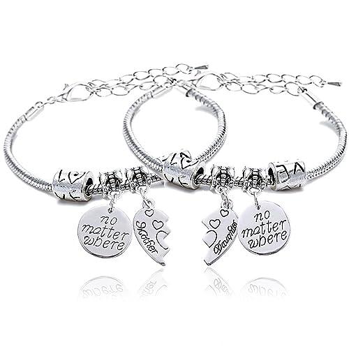 2dd18551d445 Conjunto de 2 pulseras para madre e hija con colgante redondo con mensaje