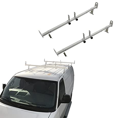 Apontus RackPro 2pc Cargo Van Ladder Roof Rack Gutter Mount Contractor 500  Lb Universal Wide Design