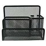 CHUANGLI Mesh Office Supplies Desk Organizer with 3 Compartments + Pen Container Desk Organizers Holders for Home Office