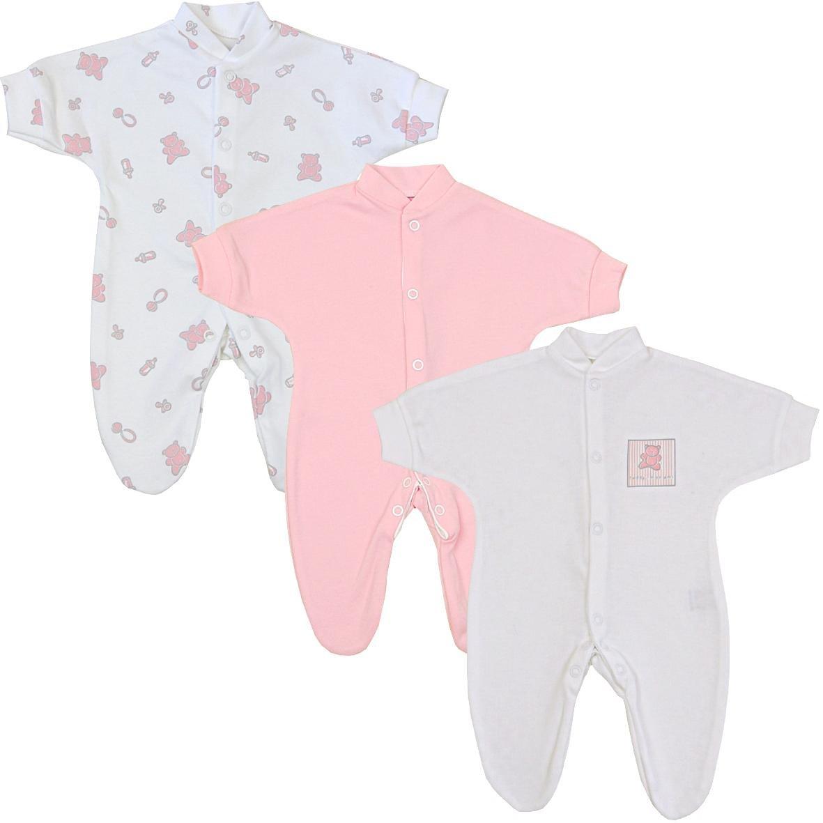 Preemie Baby Clothes Pack of 3 Sleepers Footies 1.5-7.5lb Pink Teddy P2