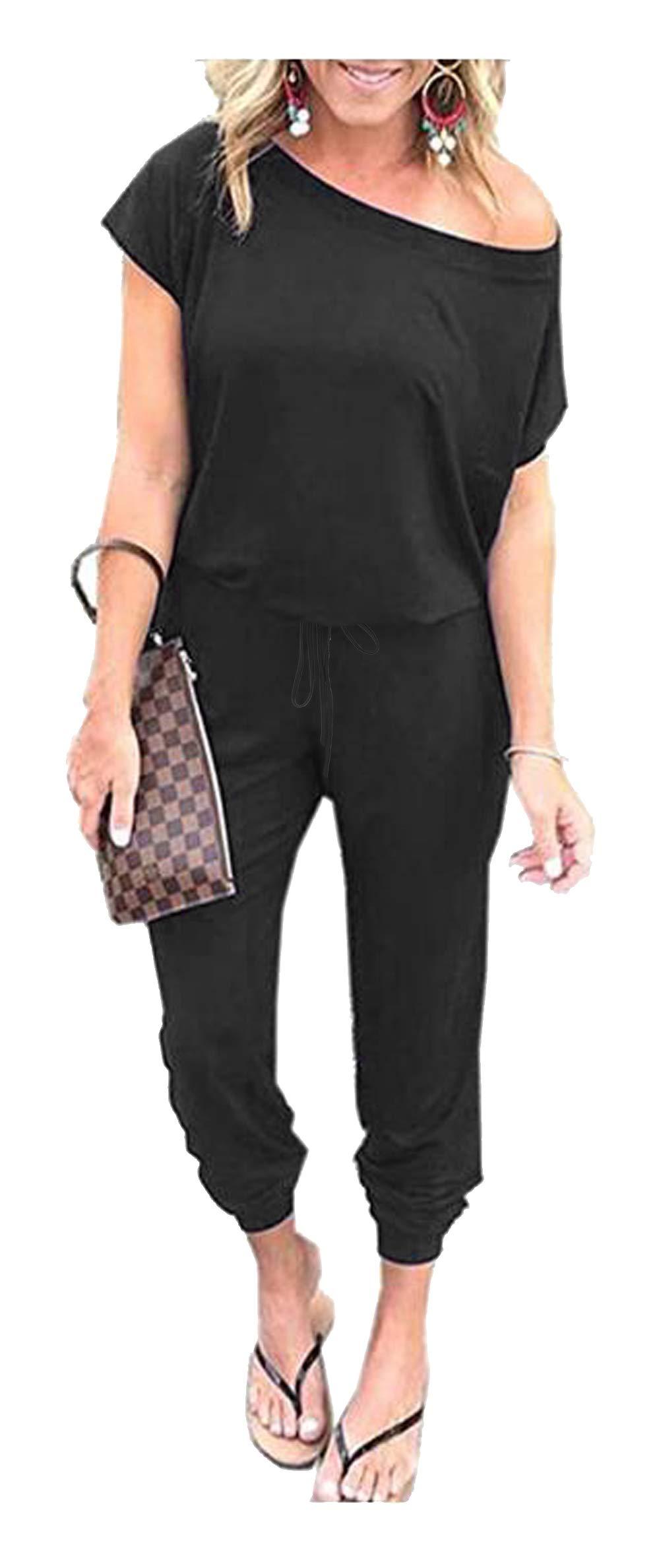 Women's Jumpsuits - Crewneck One Off Shoulder Short Sleeve Elastic Waist Romper Playsuits with Pockets Cxiejian-Black-S BYF-33