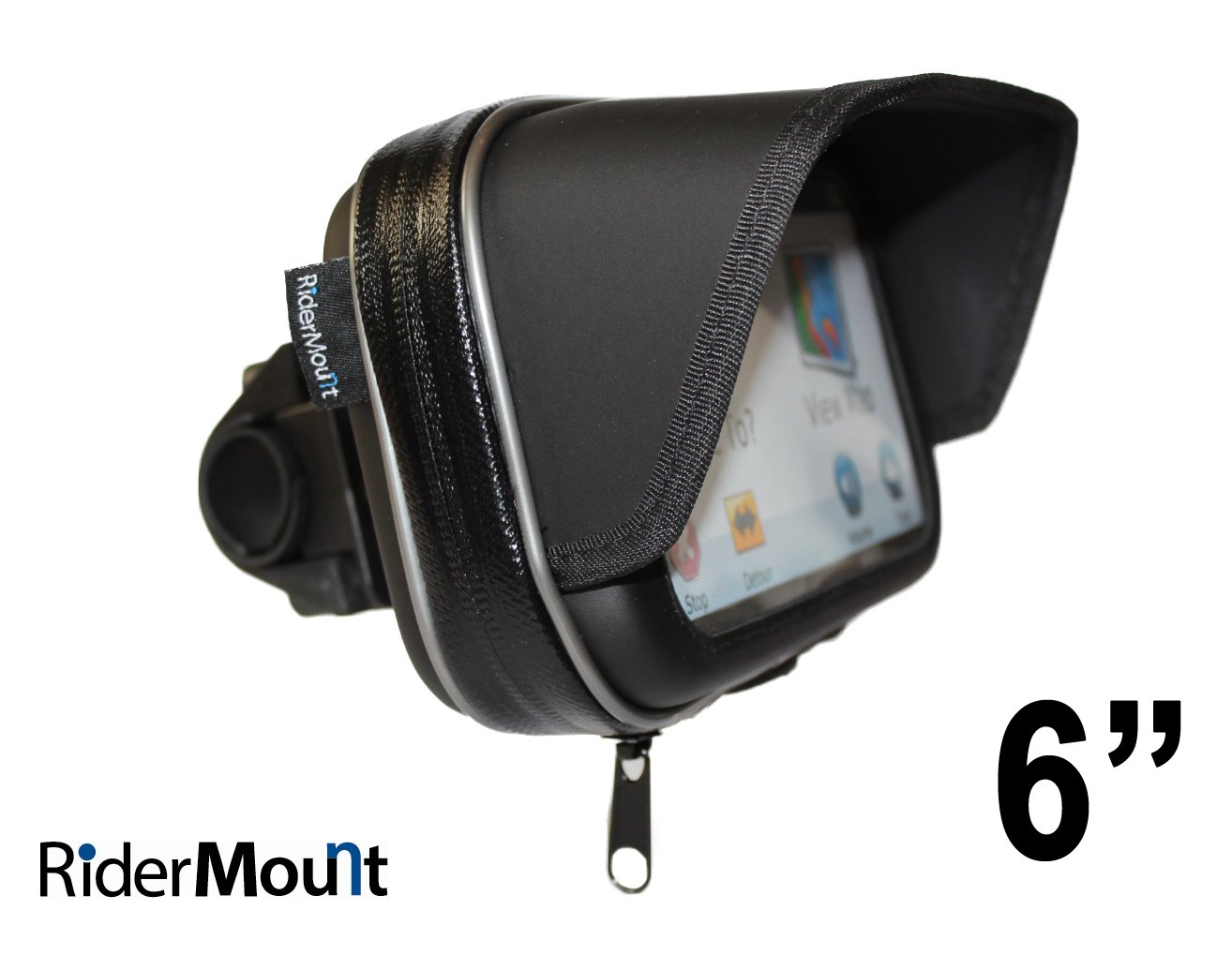 RiderMount waterproof Sunshade 6'' GPS Satnav Case with motorcycle motorbike handlebar mount for Garmin Nuvi TomTom Go Start Via 6 inch