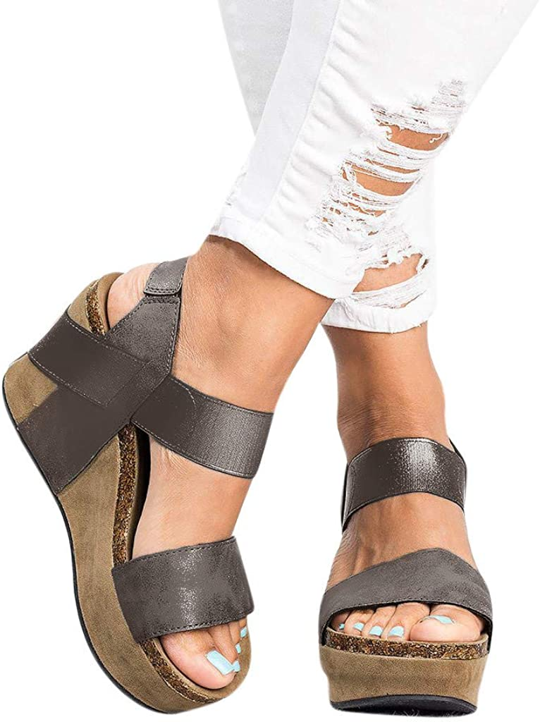 Amlaiworld Women Summer Sandals Shoes Leopard Open Toe Strappy Wedge Leather Platform Shoes Roman Sandals