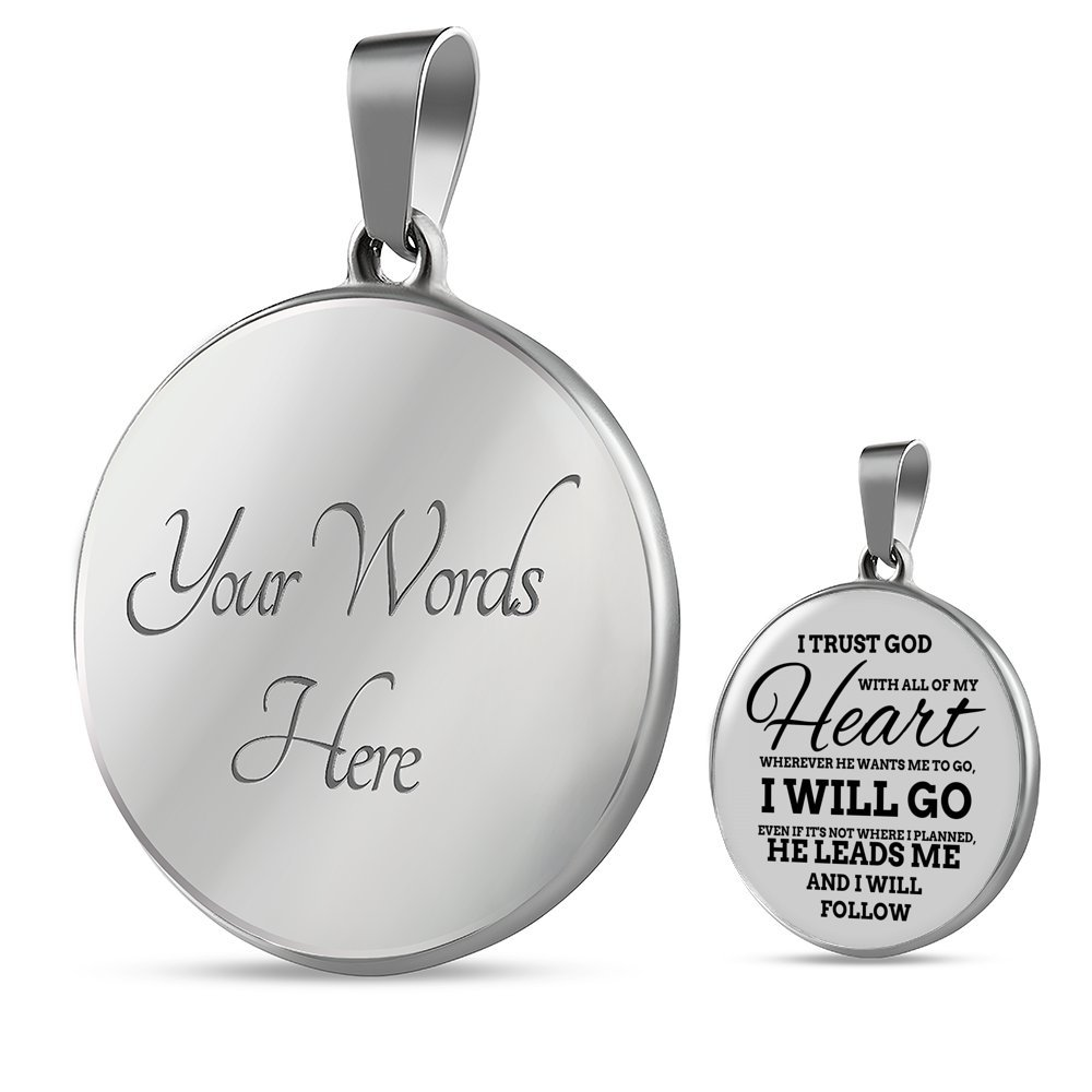 Express Your Love Gifts Proverbs 3:5 God Lead Me Handmade Stainless Steel-Silver Tone or 18k Gold Finish-Pendant Necklace Adjustable 18-22 or Luxury Chain Bracelet Bangle