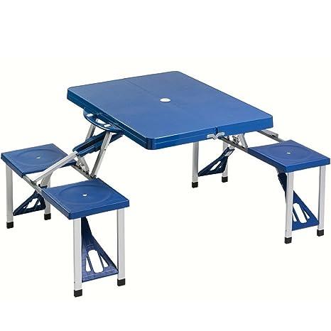 Tavoli Pieghevoli Da Mare.Bakaji Set Tavolo Tavolino Pieghevole Pic Nic Campeggio Struttura In Alluminio Con 4 Sgabelli Pieghevole A Valigetta Ideale Per Il Campeggio Picnic