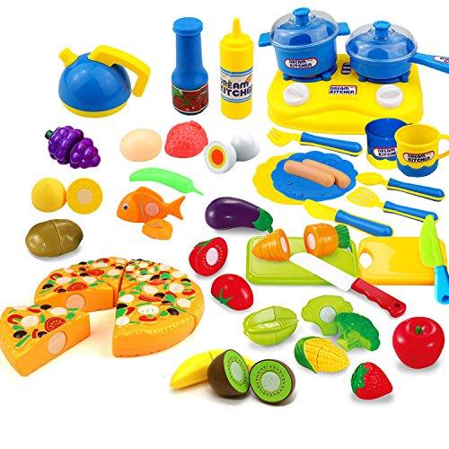 Kitchen Tools Fun Cutting Food Fruits Vegetables Tea Playset