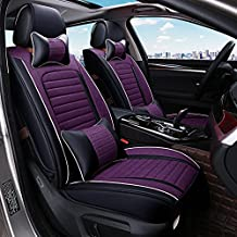 ANKIV Purple FULL SET Universal Fit 5 Seats Car Surrounded Waterproof PU Leather and Linen Flax Car Seat Covers Protector Women Girls Adjustable Auto Seat Cushions with Waist Headrest Pillows
