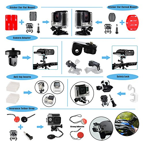 Followsun 60-in-1 Action Camera Accessories Kit Compatible with GoPro Hero/Session/Hero 6 5 4 3+ 3 2 1 Campark ACT74 AKASO EK7000 Crosstour APEMAN DBPOWER FITFORT ENEK Acko Lightdow Sony Sports DV