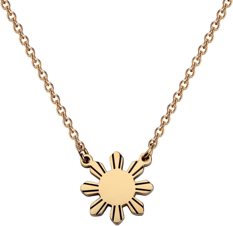 MYOSPARK Philippines Sun Necklace Philippines star necklace Philippine Pride necklace Philippines Jewelry Gift For Filipino