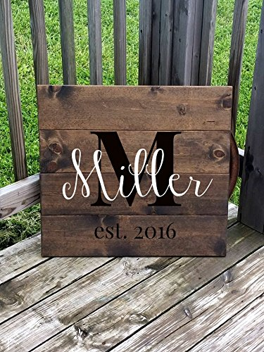 New Traditional Plank (Last Name Family Sign Large Wooden Family Gift Wedding Decor Customized Name Sign 22x24)