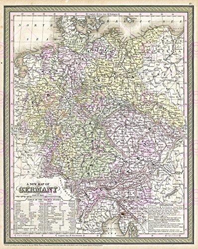 MAP ANTIQUE MITCHELL 1850 GERMANY HISTORIC LARGE REPLICA POSTER PRINT (1850 Mitchell Map)