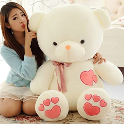 79640d6a6 2019 Giant Teddy Bear Stuffed Animals Heart 80cm White Pink For Baby ...