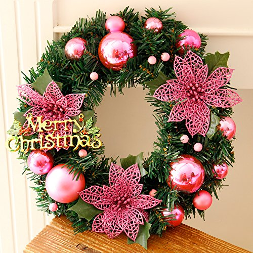 Christmas Wreaths for Front Door Decoration 12 Inch Xmas Gift Garland for Art Home Decors Windows Hanging Merry Christmas Party Decorated ,Pink by CaseFan