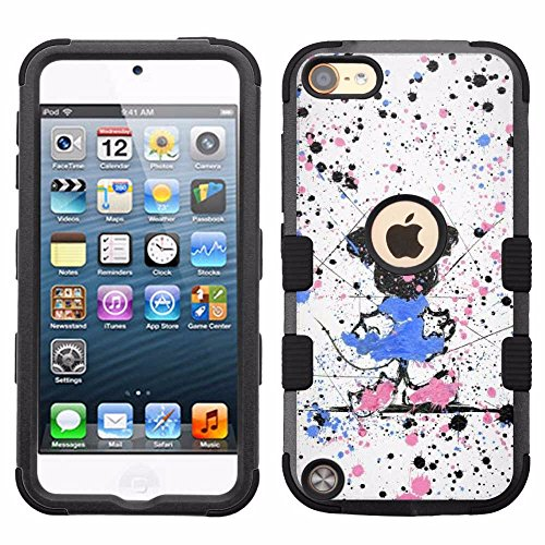 for iPod Touch 5/6, Hard+Rubber Dual Layer Hybrid Heavy-Duty Rugged Armor Cover Case - Minnie Mouse - Ipod Minnie Case 5 Mouse For