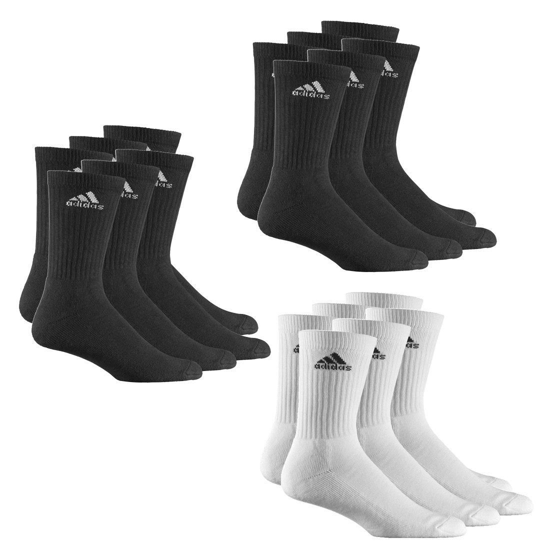 9 Paar adidas Crew Sport-Socken 3 Paar Weiß + 6 Paar Schwarz in Größe 39-42