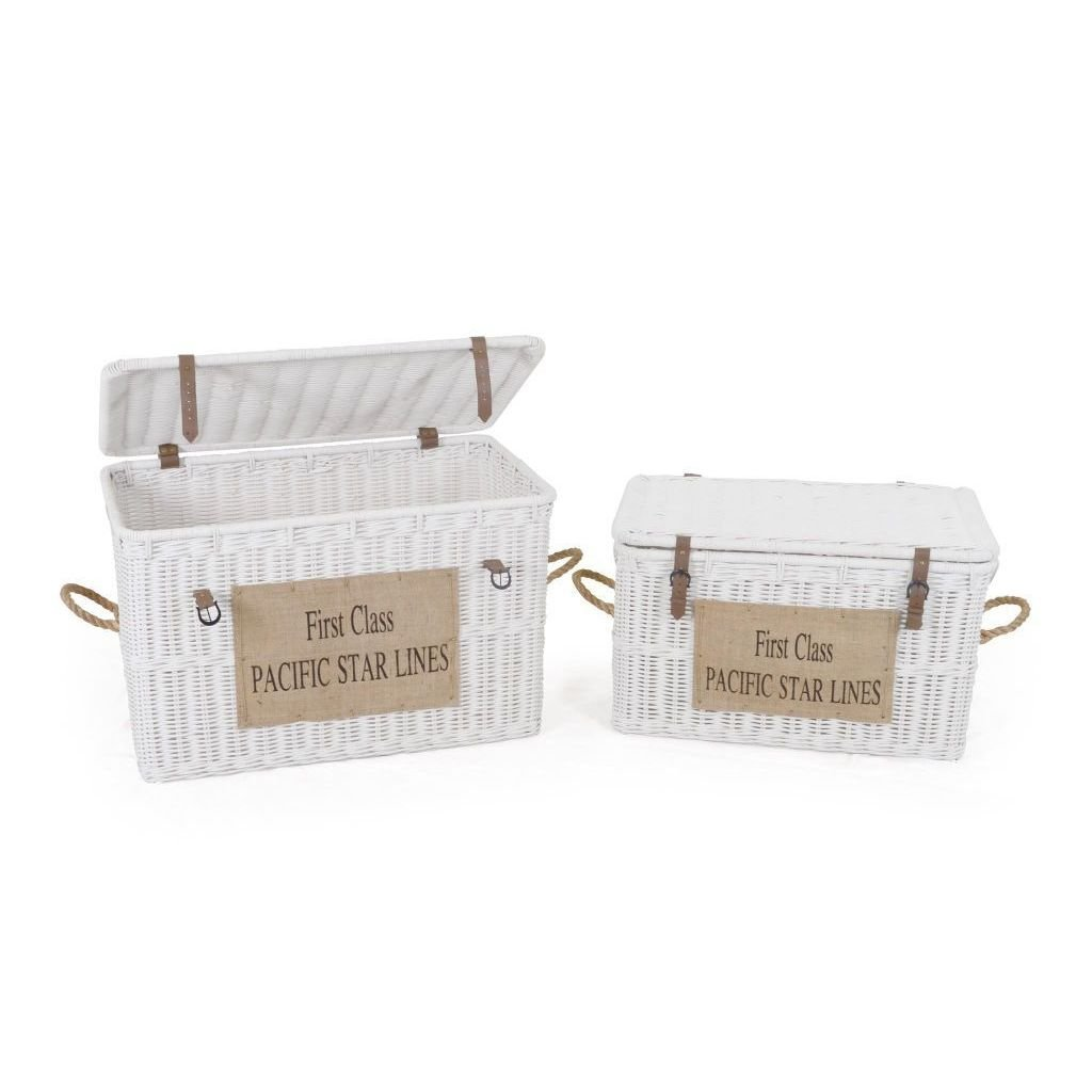 East At Main Royal White Storage Trunk Chest - Set of 2