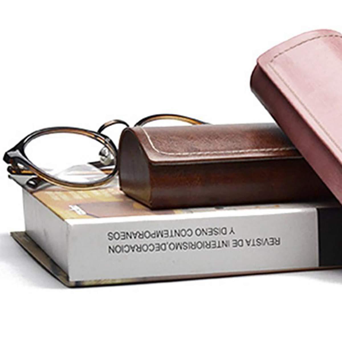 Brown Cozylkx Leather Eyeglass Case Waterproof Hard Case for Sunglasses and Eyeglasses