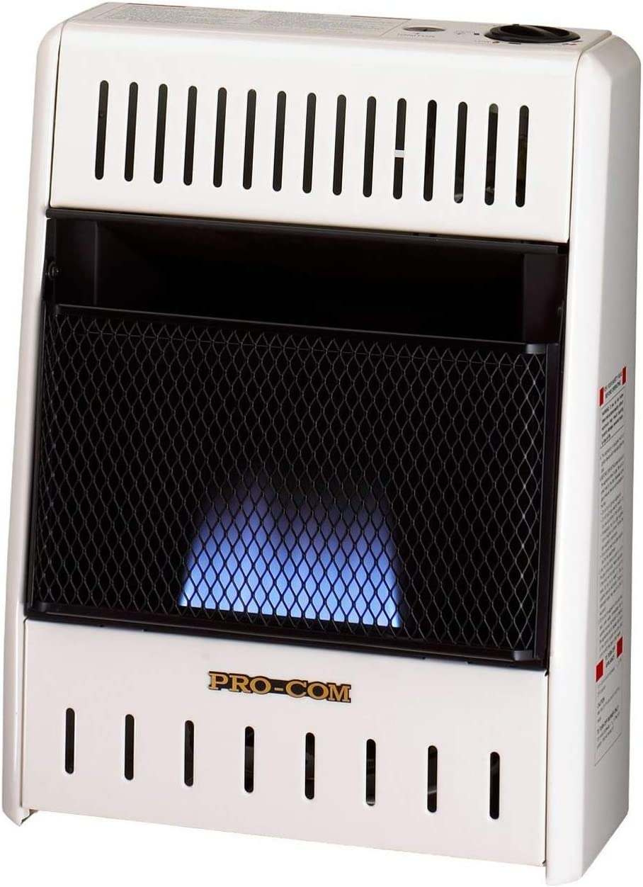 ProCom ML100HBA Ventless Liquid Propane Gas Blue Flame Space Heater – Manual Control, 10,000 BTU, White