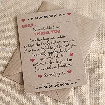 20 X Brown Retro Rustic Wedding Thank You Cards With 20 X Brown