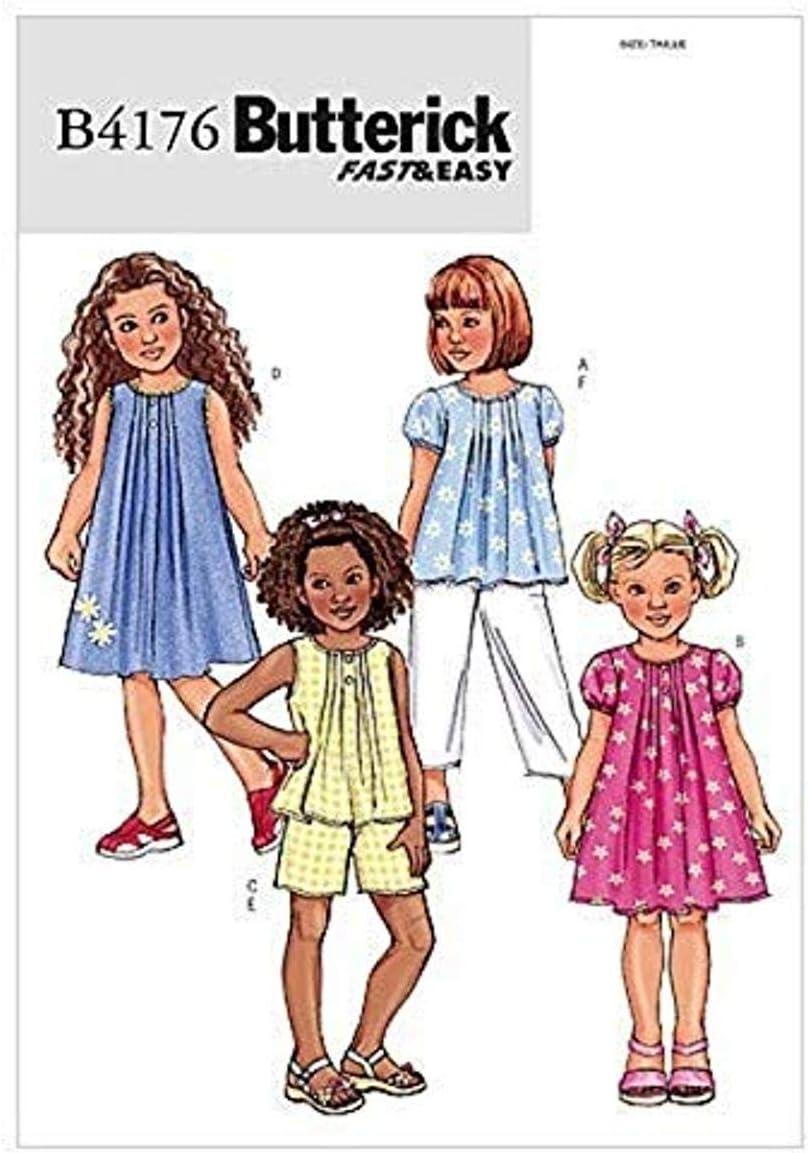 BUTTERICK PATTERNS B4176 Children's/Girls' Top, Dress, Shorts and Pants, Size 2-3-4-5