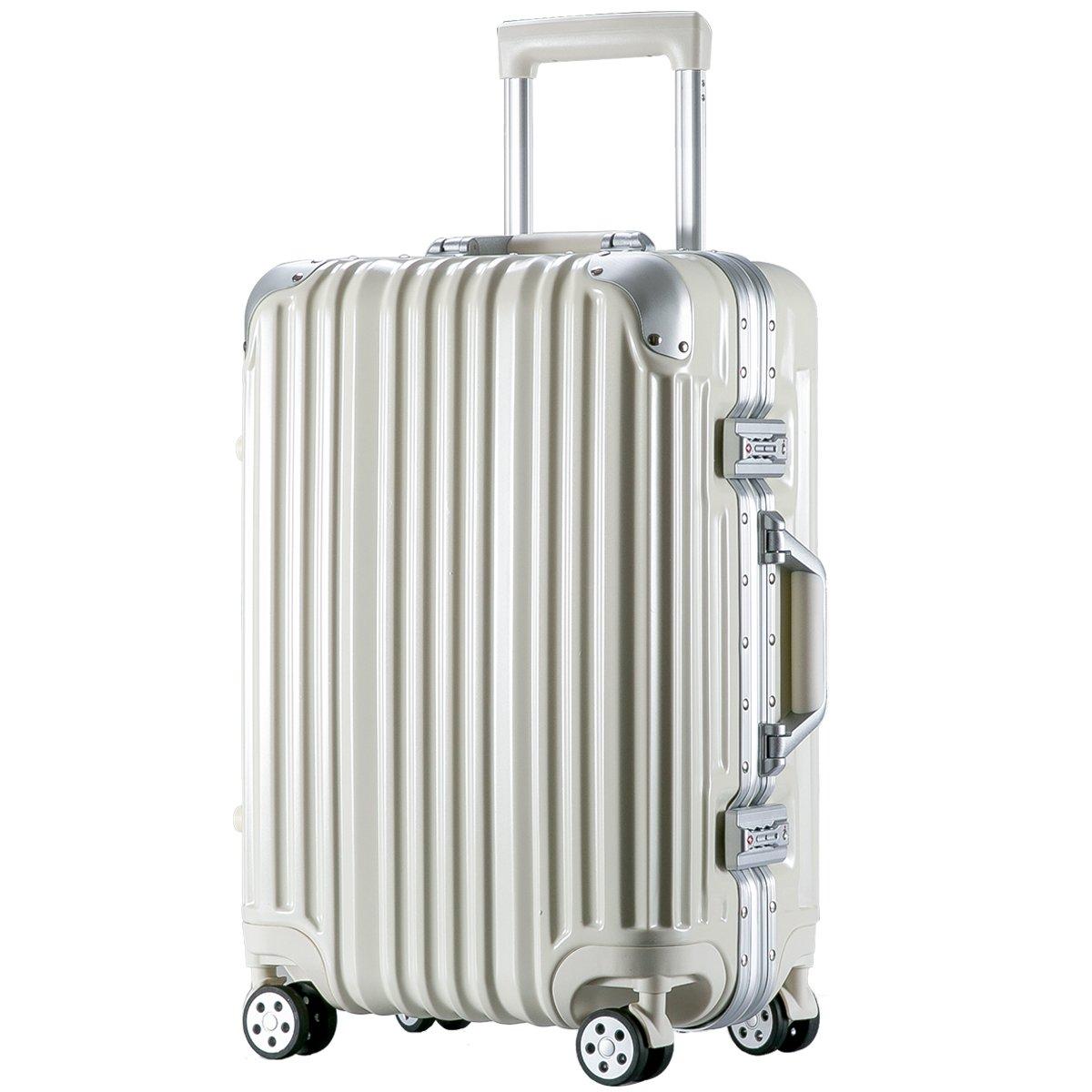 [トラベルハウス]Travelhouse スーツケース キャリーバッグ アルミフレーム ABS+PC 鏡面 超軽量 TSAロック B01L1J2V14 S|ホワイト ホワイト S