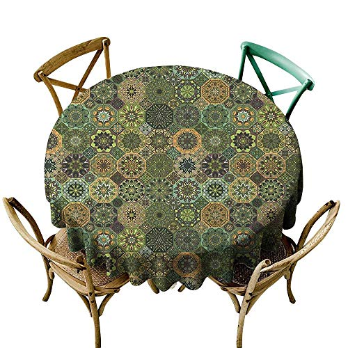(Wendell Joshua red Tablecloth 50 inch Mandala,Ethnic Oriental Elements with Floral Design Retro Octagons and Rhombuses Pattern, Multicolor Suitable for Indoor Outdoor Round Tables)