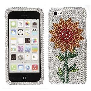 Fincibo (TM) Apple iPhone 5C Light Lite Bling Crystal Full Rhinestones Diamond Case Protector - Sunflower