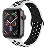METEQI バンド 対応 Apple Watch, シリカゲルバンド スポーツシリコンストラップリストバンド交換バンド柔らか運動型 M/L Series 5/4/3/2/1 (42MM/44MM, 白/黒)