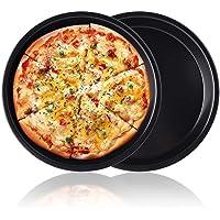 Pizza Baking Pan Pizza Tray - Zeakone Carbon Steel Pizza Pan Round Pizza Baking Sheet Oven Tray, Nonstick & Healthy…