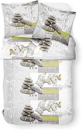 Today Zen Garden Parure De Lit 2 Personnes Housse De Couette Avec 2 Taies D Oreiller Polyester Blanc 220x240 Cm