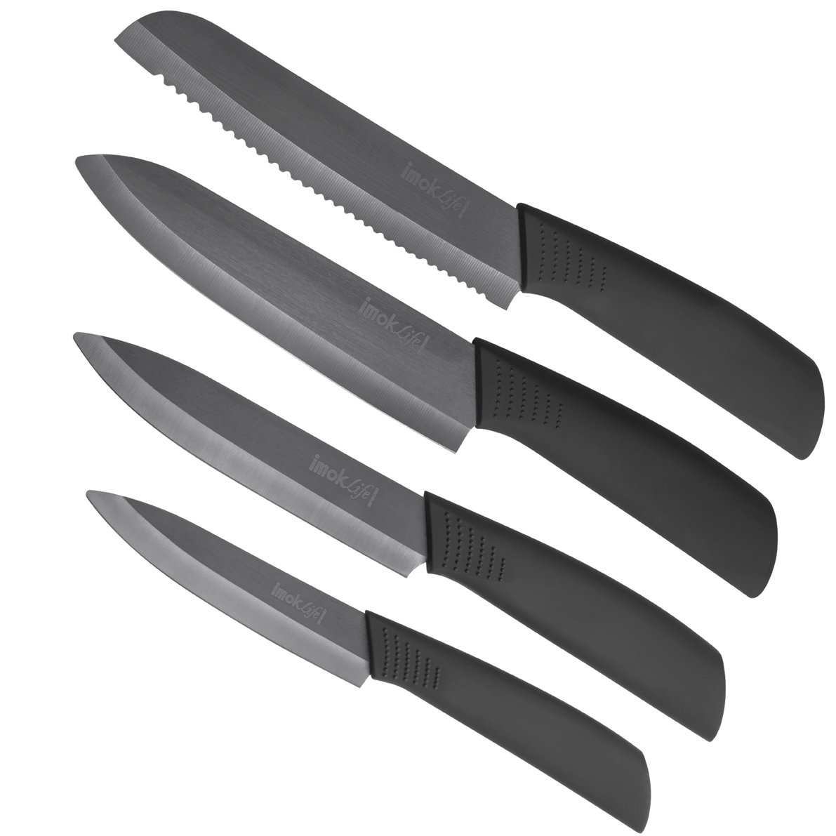 imokLife Ceramic Knife Set (4 Pieces) Kitchen Knives with Safety Sheaths Super Sharp and Never Rust(6'' Bread Knife, 6'' Chef Knife, 6'' Utility Knife, 4'' Fruit Knife ), Black