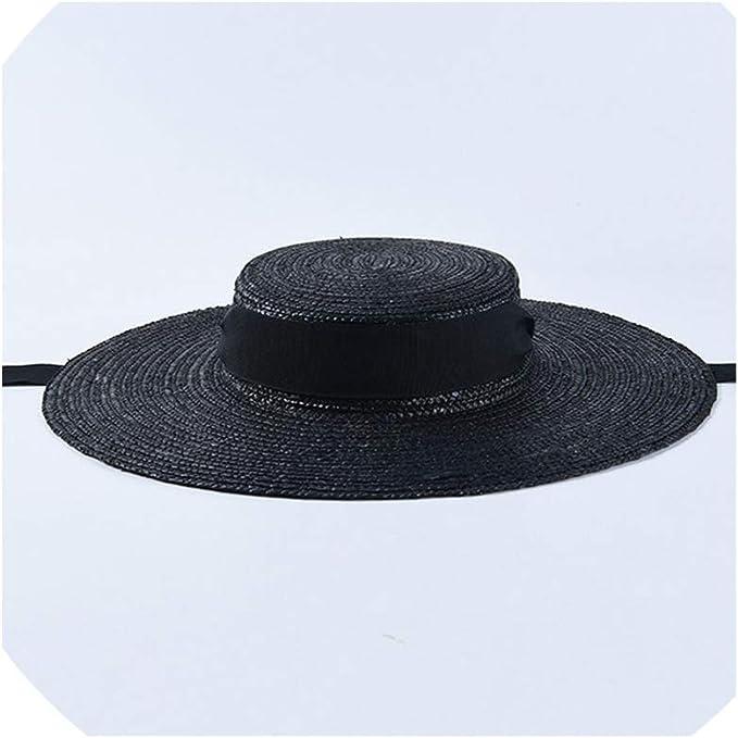 Wide Brimmed Straw Hat Rolled Brim Black Boater Sun Hat Garden Hat