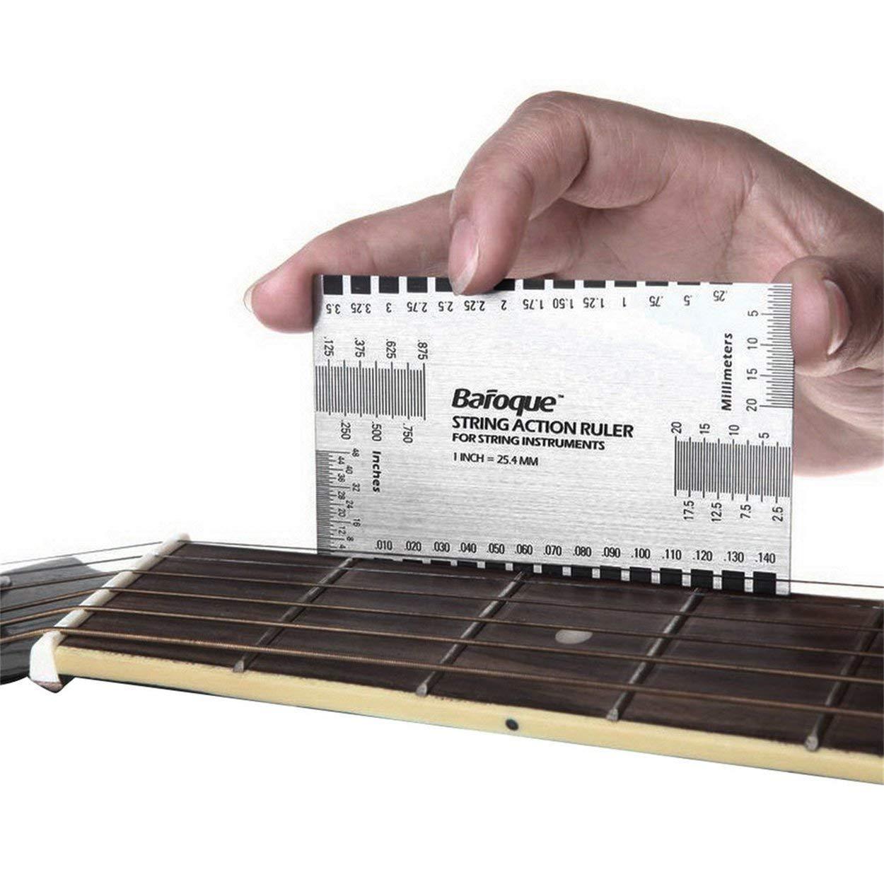 Outil de jauge de r/ègle daction de corde de guitare /électrique acoustique durable in//mm pour la guitare basse mandoline banjo outils de mesure Jpstyle