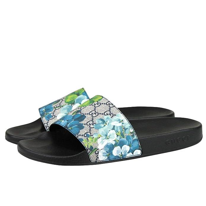 70daf934a05943 Amazon.com  Gucci Bloom Print Blue Supreme GG Canvas Flower Slide Sandals  407345 8498 (14 G   15 US)  Shoes