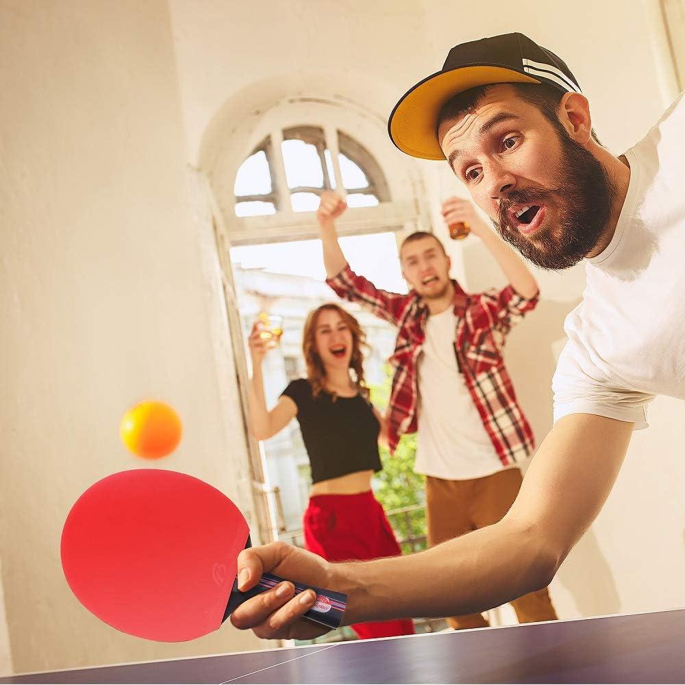 agarres para Manos de pu/ños BESTOO 2 Bates y 3 Pelotas Raqueta de Ping-Pong con Funda para 2 Jugadores