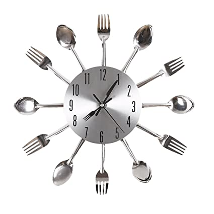 Gearmax® Cubertería plateado diseño moderno reloj de pared utensilios de cocina cuchara tenedor cuchillo reloj
