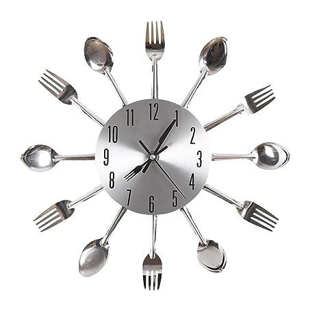 Ohuhu® Cubiertos Cocina Tenedor y Cuchillo del Reloj de Pared / Reloj Decorativo, Astilla