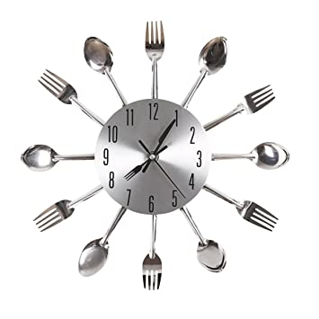 Gearmax® Cubertería plateado diseño moderno reloj de pared utensilios de cocina cuchara tenedor cuchillo reloj kit de mecanismo de cuarzo silencioso: ...